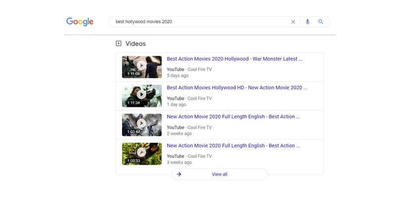 Google search video carousels